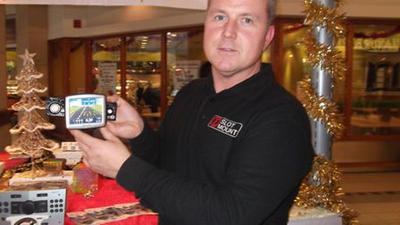 David Swinbourne, with the Dash Mate, at the Buttermarket shopping centre in Ipswich.