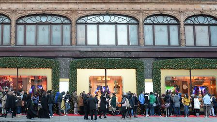 Shoppers waiting outside Harrods for the start of the Boxing Day sales in Knightsbridge, London.