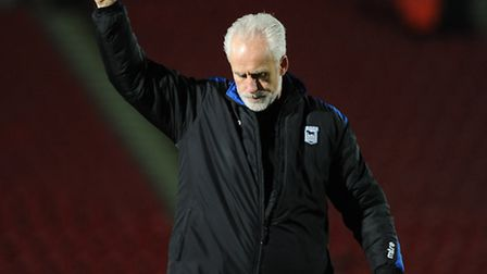Mick McCarthy gives the travelling Ipswich supporters a thumbs up at Doncaster on Boxing Day