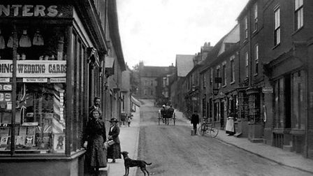 A view looking up South Street in Manningtree from Market Cross. On the left is Cullingford's statio