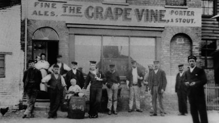 In front of The Grapevine pub in Mistley. There were six pubs within 100 yards. The others were: The