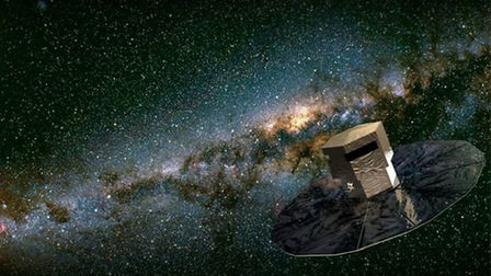 An illustration of the Gaia space observatory in orbit
