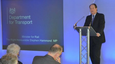 Stephen Hammond at the Suffolk rail conference.
