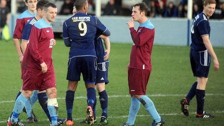 Hadleigh United v Welwyn Garden City - FA Vase. Tempers fray in the first half.