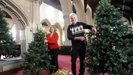 Reverend Michael Eden and his wife Judy are pictured at St Peter and St Mary's Church in Stowmarket