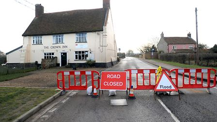 The Crown Inn at Snape begin cleaning up after the flood water entered the building from a tidal sur
