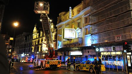Emergency services attending the scene at the Apollo Theatre in Shaftesbury Avenue, central London.