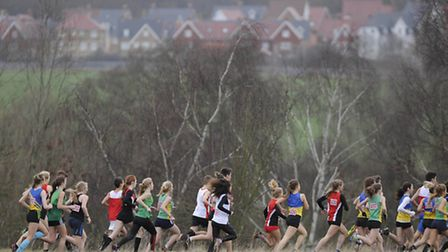 Action from the Essex Cross Country Championships at Hilly Fields
