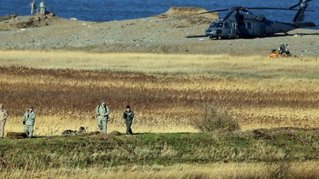 The wreckage of a US Air Force HH-60G Pave Hawk helicopter that crashed during a training exercise,