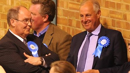 Tim Yeo with party supporters at the 2010 election count.