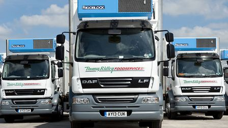 Some of the DAF trucks already used by foodservice company Thomas Ridley, which has placed a �500,00