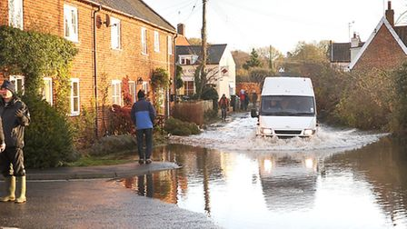 Roads in Snape badly flooded after the tidal surge.