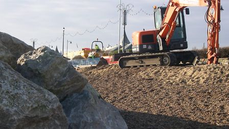 Work is taking place to repair sectiins of promenade at Felixstowe which were damaged in the North S