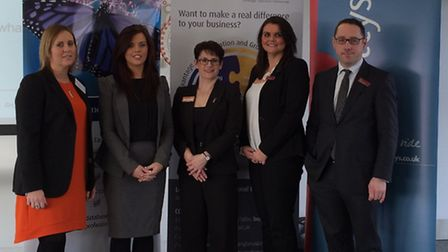 Theresa Simpkin, centre, senior lecturer at the Lord Ashcroft International Business School, with re