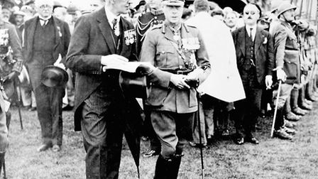 Sir Fabian Ware and the Prince of Wales. The prince encouraged Ware to put his ideas for a war grave