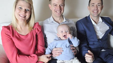Martin Cornwell, centre with his son Charlie, along with wife Kerry Cornwell and along with brother