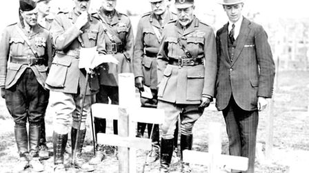 King George V with Fabian Ware and Field Marshal Douglas Haig, inspecting wooden crosses in Tyne Cot