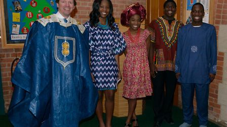 Students and teachers at Framlingham College celebrate Africa Day, pictured from left, headteacher P