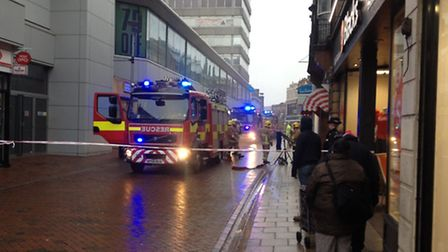 Fire crews at the scene of the blaze in Carr Street, Ipswich