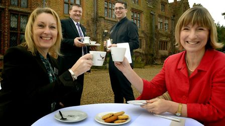 From left, Anne Musolino, Paul Dillon and Daniel Smith of Seckford Hall with Leanne Castle of MENTA,