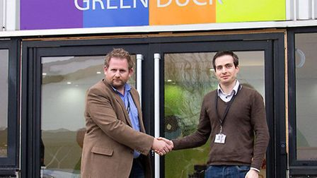 Mathew Green, left, welcomes Mark Roper to Green Duck following its acquisition of Front to Back Me