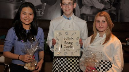 The three finalists in the Suffolk Young Cook of 2014 competition organised by Chef Emma Crowhurst.