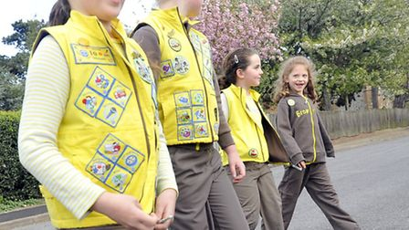 First Old Felixstowe Brownies taking part in a road saftey exercise in the latest version of the un