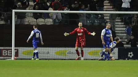 Ipswich Town keeper Scott Loach asks questions of his defenders after Ipswich went 2-1 behind at Pre