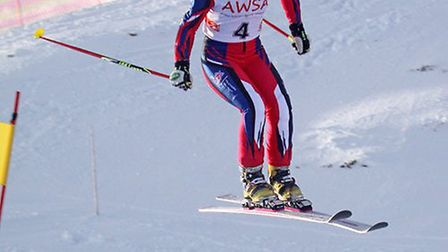 Jasmin Taylor in action during the 2014 British Telemark Championships in Rauris, Austria