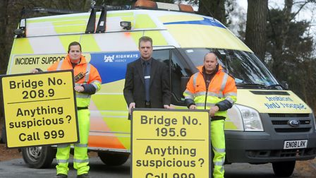 Signs which were introduced on bridges along the A14 and A12 after objects were thrown at motorists