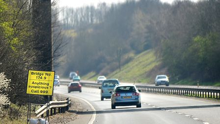 A car was stuck by a rock thrown from a bridge on the A14 between Stowmarket and Needham Market in M