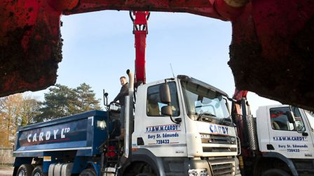 The new FAD CF85 410 grab loader vehicle which has been to Cardy�s DAF tipper fleet.
