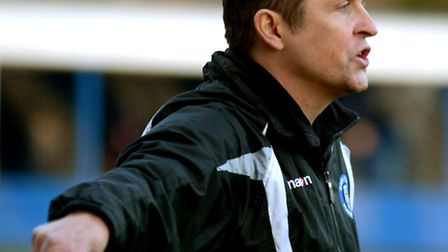 Bury boss Richard Wilkins ordering a command from the touchline in Saturday's goalless draw