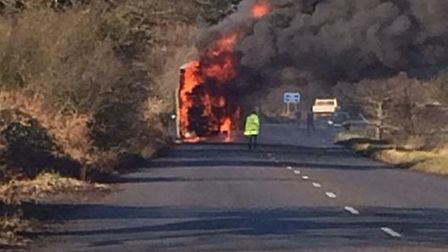 A bus was on fire in Levington earlier today. Photo: Jodie Harrington