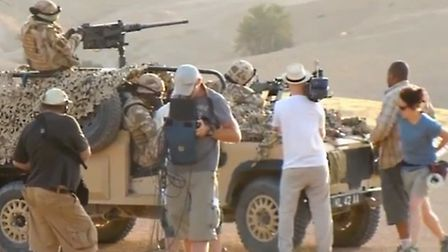 Video footage of filming 'The Patrol' in Afganistan - a movie about the war in Afghanistan which w