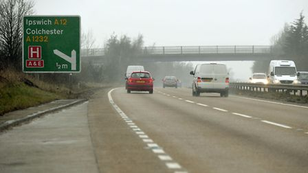 The A12 junction at the A120 in Essex.