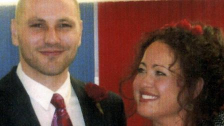 Simon and Stephanie Hall after their wedding in Kingston Prison, Portsmouth in 2008