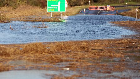 The A12 at Blythburgh was flooded in December's tidal surge