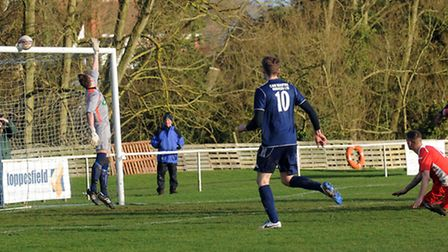 Hadleigh hit the bar at the end of the first half. Photo: PHIL MORLEY