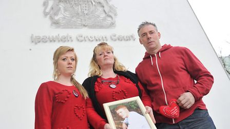 Bethany, Linda and David Skeet wore red to Ipswich Crown Court on Friday, 14 February to signify the
