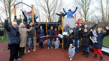 The official opening of the newly re-furbished play area off Bergholt Road in Colchester.