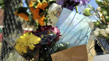 Flora tributes left at Lovetofts Drive Recreation Ground, Ipswich, after the death of a toddler