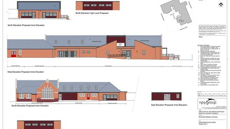 Proposed elevations of Roydon Primary School, with the new extension. Picture: NPS/Norfolk County Co