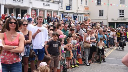 Diss Carnival 2017. Spectators watch the procession. Picture: DENISE BRADLEY