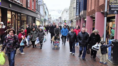Shoppers in Ipswich Town centre