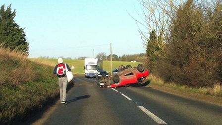 Overturned car on the B1116 Main Road