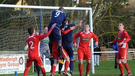 FA Vase action from Hadleigh United v Wisbech Town. Wisbech are on the road again in the quarter-fin
