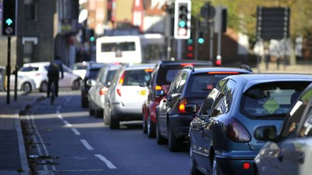 Road closures in Ipswich Tuesday morning lead to traffic backing up on Fore Street back to Bishops