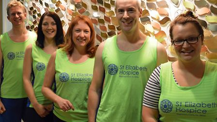 Running for the St Elizabeth Hospice in the London Marathon are (l-r) Andrew Robertson, Jess Batih,