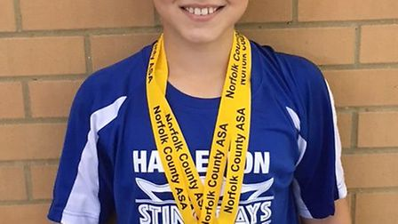 Harleston Stingrays Swimming Club's Nathan Birchenough, winner of two medals. Picture: TERESA GRIFFI